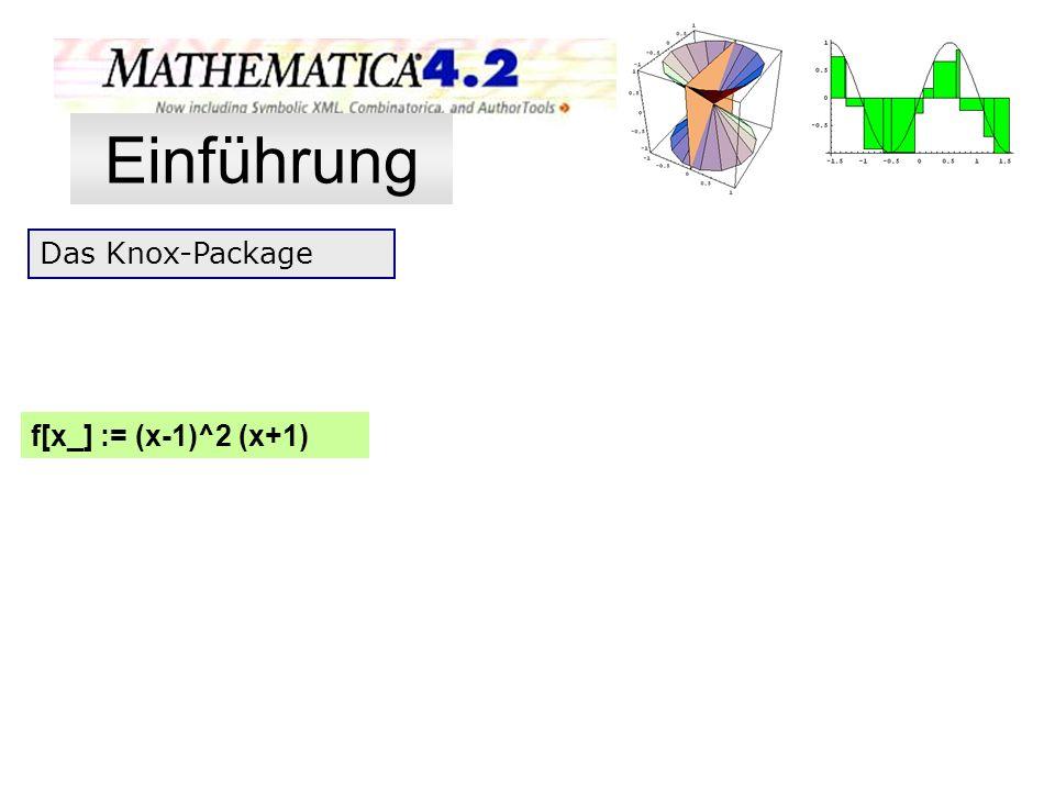 Einführung Das Knox-Package f[x_] := (x-1)^2 (x+1)